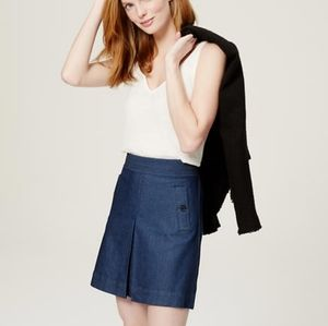 LOFT | Denim Look-a-like Skirt A-line Button Pleat